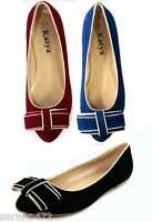 LADIES SUMMER SUEDE DOLLY SHOES PUMPS BOW BALLET FLATS UK SIZE 3-8 EU36-41 NEW