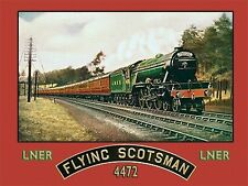 Flying Scotsman Steam Train, LNER Railway Engine, Old Large Metal/Tin Sign