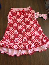 Dog Dress Size XS Red With White Dots Pink Hearts Pink Crossbones