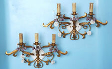 2 Antique 3-Light Wall Sconces Bronzed Iron Porcelain Roses Lavender Glass Beads