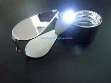 Magnifier 30x 21mm Jewelers Loupe Magnifying Glass twin LED light Chrome NEW