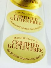 "Gluten Free 2"" Gold 250 Sticker Label NEW Label For Food Packaging Allergy Info"