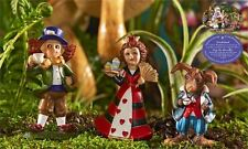 3 Miniature Alice in Wonderland Figurines Mad Hatter Queen of Hearts March Hare