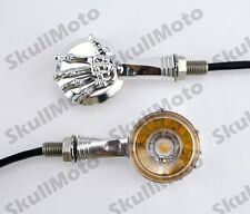 Chrome 3D Skull Skeleton LED Turn Signal Indicator Light For Harley Custom Parts
