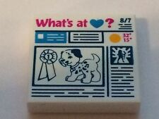 "LEGO Loose Parts Tile 2 x 2 with Newspaper ""Dog, Prize Ribbon"" Pattern NEW 2pcs"