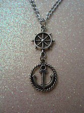 Ships Wheel and Anchor Necklace 18 Inch