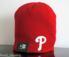 New Era Phillies Skull Knit Red Slouch Hat Urban Uncuffed Bboy Beanie Cap