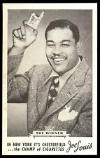 1940'S JOE LOUIS THE WINNER PROMOTIONAL Chesterfield Cigarette PHOTO CARD EX-NM