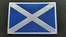 NATIONAL WORLD COUNTRY EMBROIDERED FLAG SEW/IRON ON PATCH:- SCOTLAND (b) WHITE