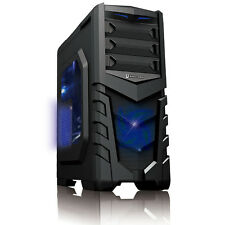 CIT Vanquish Blue LED USB3 ATX Gaming Tower PC Case Clear Side Window