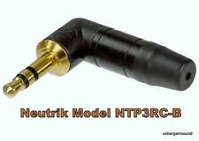 "Neutrik NTP3RC-B 3.5mm 1/8"" Stereo Right Angle Mini Headphone Plug Gold / Black"