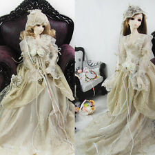 Bjd Clothes Pricess Mix Gold thread Dress Suit(4pcs) for BJD1/3,1/4 Doll Dollfie