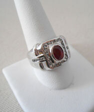 Amazing Men's Sterling Silver Square Face Garnet Stone Ring   321209