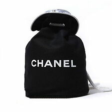 CHANEL VIP Black Canvas Drawstring Makeup Jewelry Cosmetic Bag NEW FREE SHIP