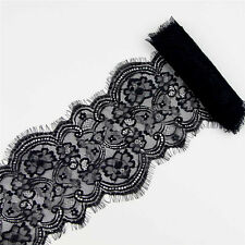 """3 Yard 7"""" Black Flower Embroidered Lace Trim DIY Clothing Sewing Craft Applique"""