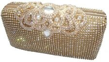 Unique Gold Diamante Diamond Crystal Evening bag Clutch Purse Party Wedding Prom