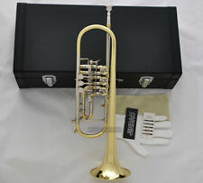 Prof JINBAO Gold Rotary Valve Trumpet Horn cupronickel tuning pipe With Case