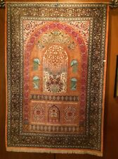Silk Prayer Rug NEVER USED High Detail EXCEPTIONAL QUALITY Persian A+ quality!