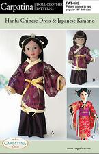 """Hanfu Chinese Dress & Japanese Kimono Pattern Fits 18"""" American Girl Dolls"""