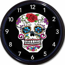 Cavalera Skull Day Of The Dead Dia De Los Muertos Wall Clock Mexico art New 10""