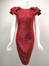 MARCHESA NOTTE Red Sequin-Covered Exaggerated Shoulder Dress sz 6 NEW