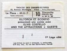 ELVIS COSTELLO : rare billet ticket concert FRANCE Paris 10/01/1982