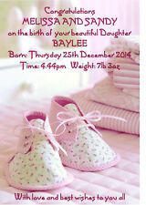 Personalised A5 Congratulations on New Baby Girl Card Parents Grandparents Birth