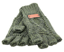 Aran Traditions Womens Ladies Winter Warm Fingerless Green Gloves