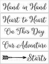 Wedding STENCILS*Hand in Hand*with arrow Set of 5 stencils for Signs Pallets