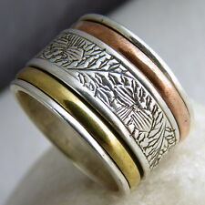 US 6 3/4 ~ Carved SILVERSARI 3-Tone 3-Spin SPINNER Ring ~ 925 Sterling Silver