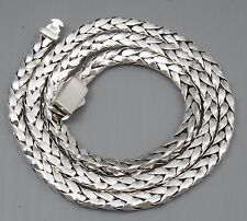 "79g 20"" ARTISAN WOVEN BRAIDED SHINY 925 STERLING SILVER MENS NECKLACE CHAIN"