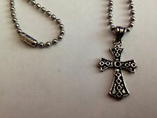 Men's Cross Pendant in Sterling Silver Necklace  with Ball Chain 18in Necklace