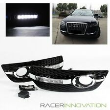 For 2009-2012 Audi Q5 Fog Driving Lamps Cover w/ LED DRL Daytime Running Lights