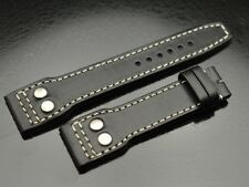 22mm Russian leather strap Big Pilot Aviator Navigator M black with rivets