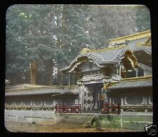 GLASS MAGIC LANTERN SLIDE TEMPLE GATE IYEMITSU NIKKO C1910 JAPANESE JAPAN