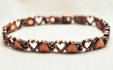 LADIES 7.5 INCH MAGNETIC THERAPY LINK BRACELET: Flip-Flop Copper Hearts; 4 Pain!
