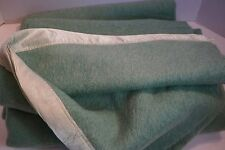"WOOL BLANKET Granny Apple Green 71"" W x 80"" H Satin Trim No Tag to ID Maker TWIN"