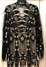 NWT FREE PEOPLE BLACK LACE TUNIC / MINI DRESS SZ 8 AUTHENTIC $148 RT