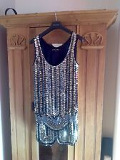 BELLISSIMA 1920s Flapper style dress size 14. paillettes, glitter, Costume