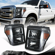 Super Duty Smoked Headlights Amber Reflector For 2011-2016 Ford F250/F350/F450