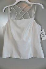 NWT Yves Cossette Depenche Mode Off-White Silk Weave-Back Top Size 12 MSRP $148