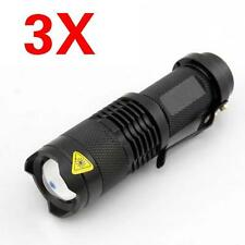 3 pzas Mini CREE Q5 linterna flash LED 1200LM Con zoom Lámpara G2
