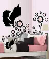 "Horse with girl wall decal vinyl wall decal  girls room 13"" x 16"" black or white"