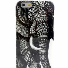 For iPhone 6 / 6S - HARD TPU RUBBER GUMMY SKIN CASE COVER BLACK VINTAGE ELEPHANT