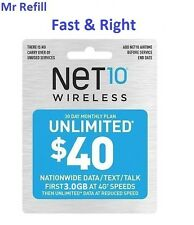 Net10 $40/Month Plan Refill: Unlimted Talk/Text/DATA, applied to phone directly
