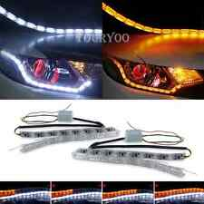 2x 16LED Car DRL Strip Lights Sequential Turn Signal Lamp Switchback White Amber