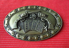 BIKER CHAIN BIKE CROSSED GUNS PISTOL COLT 45 HANDGUN CARDS WILDWEST BELT BUCKLE
