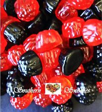 TROLLI RASPBERRIES AND BLACKBERRIES 1KG RED BLACK GUMMY LOLLIES CANDY BUFFET