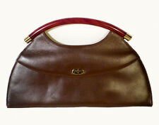 Vintage 1960s Brown Leather Red Cherry Amber Lucite Purse Mod Style Retro