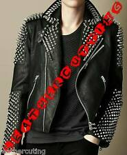 New Mens Silver Studded Steam Punk Black Biker Leather Jacket All Color & Size